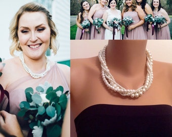 Best Gift, Pearl Twisted Necklace, Bridal Pearl Necklace, Bridesmaid Jewelry, Wedding Jewelry, Multistrand Necklace,Gift for Her Brides