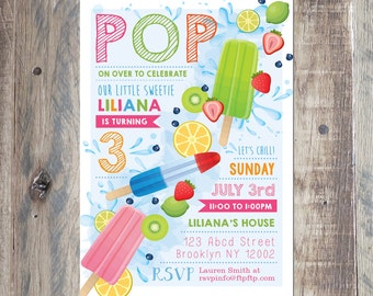 Custom Birthday Invitation - Popsicle Party Birthday Invitation - Pop On Over - Personalized With Your Party Details - Printable PDF or Jpeg