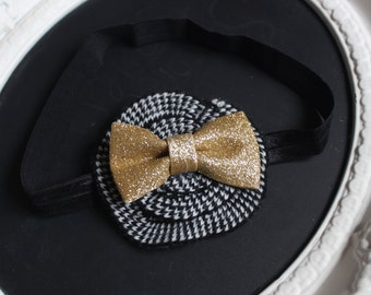 White and Black Plaid Houndstooth Shabby Chic Felt Flower with Golden Sparkle Bow Accent on Black Elastic Headband