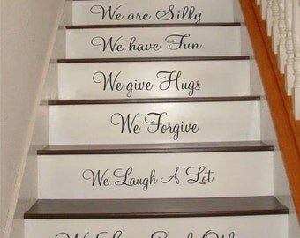 Family Stair Riser Decals, Stair Decals, We Are Family Decals, Inspiration Quotes Stair Riser Decals, Stair Stickers, Wall Decals