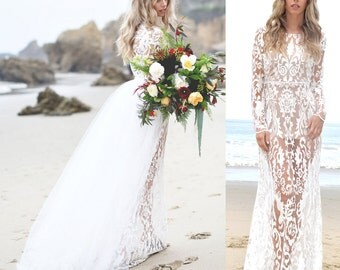Sheer Lace Mermaid Trumpet Hourglass Bohoemian Boho Embroidered Wedding Dress Detachable With Tulle Skirt Saldana Vintage