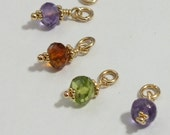 14k Solid Yellow Gold Gemstone Charm: Natural Birthstone Choice- All Birthstones- Gemstone Pendant