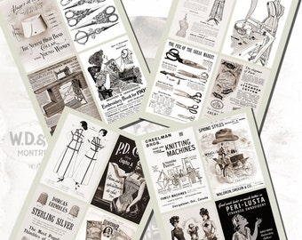 Vintage Sewing and Embroidery Images, POSTCARD SIZE,  (3.5 x 5 Inch  or 12.7 x 8.8 cm), 20 Total