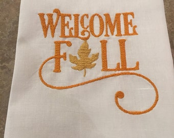 Welcome Fall guest towel