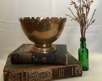 Vintage Brass Footed Bowl Scalloped Edge