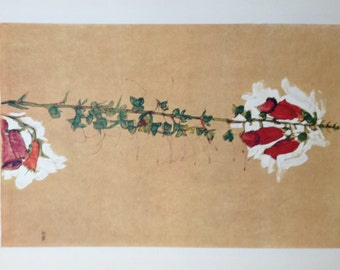 "Schiele Egon 11, Lithograph, ""Red Foxglove"""