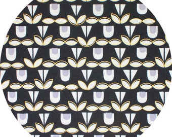 Blooms in Black and Gold Metallic CANVAS - Monochrome by Kokka - Fat Quarter, Half Yard or More