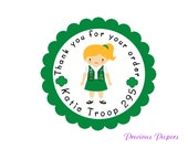 Personalized PRINTED girl scout troop stickers girl scout favor sticker scout stickers girl scout cookie stickers girl scout labels