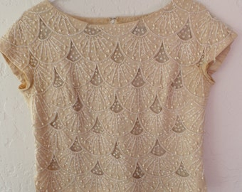 Vintage 1950s beaded cream top, Handmade Pearl Sequin blouse, Imperial Imports, 60s Bead Blouse