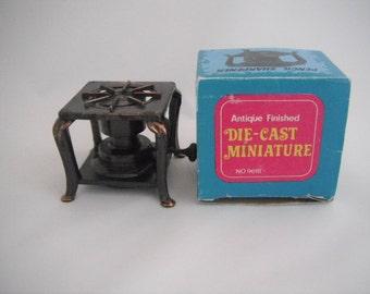 Die Cast Miniature Pencil Sharpener, Burner, Stove, Antique Finish