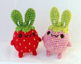 """Strawberry Bunny """"Strawbunny"""" - Amigurumi Plush Rabbit"""