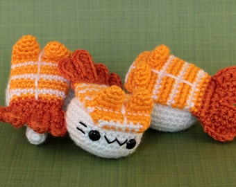 Ebi (Shrimp) Nigiri Cat - Sushi Inspired Amigurumi Kitten