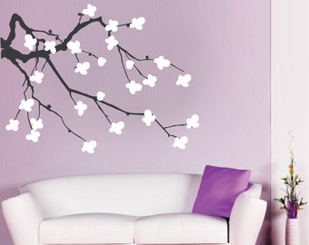 Cherry Blossom Branch Wall Decal - flower wall decals cherry blossom vinyl wall decals - nursery wall decal sticker - cherry blossom - b30
