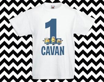 Minions Iron On Transfer Birthday T-Shirt - name customized