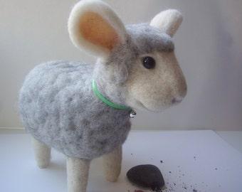 Needle felted sheep, white, gray