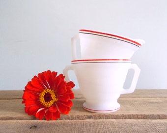 Hazel Atlas Moderntone White Milk Glass with Black and Red Rim Creamer and Sugar Bowl Set