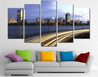 "60""x36"" Framed Huge 5 Panel Art Boston Skyline Downtown Giclee Canvas Print - Ready to Hang"