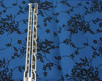 """1/4 yard Quilting Cotton Royal Blue with Black Floral Print - 44"""" wide"""