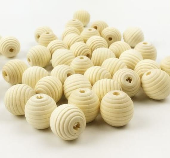 Bead Supplies-10 Pieces. Geometric - Natural Wood Beehive Beads- 18 mm -Jewelry Supplies-Little Laser Lab.