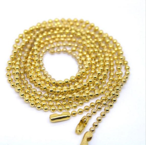 4 Pieces. Yellow Ball Chain Necklace. 2mm Bead Connector. 70cm. DIY Ball Necklace.