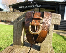 """Hand made Celtic Knot Weave design embossed leather belt, 1.5"""" wide strap with solid Brass buckle, made to measure."""