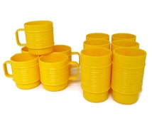 Vintage Rubbermaid yellow ribbed drinking cups, 11 total