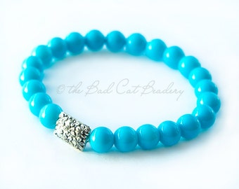 Boho Blue Beaded Stretch Stack Bracelet with Silver Faux Clasp