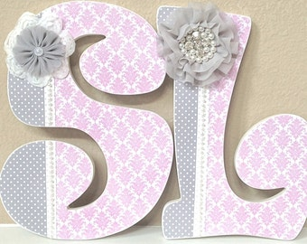 Custom nursery letters, baby girl nursery decor, baby name, pink and gray, wall letters, personalized baby shower gift- The Rugged Pearl