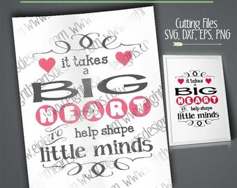 Big Heart shape little  minds teacher caregiver svg cut able design vector