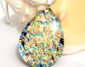 Golden Dichroic Glass Pendant - Fused Glass Jewelry - Gold and Green Art Glass Necklace
