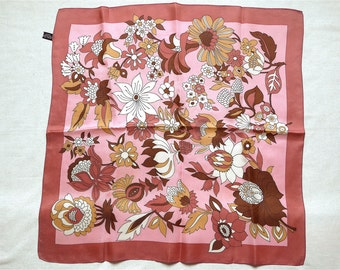 Floral scarf, vintage.  A precise design, very tonal in shades of pink, rust, brown, ochre, black & white.  c 1970's.