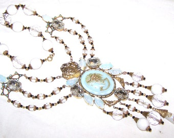 Vintage Unique Art Nouveau Cameo Czech Opalescent Blue Glass Necklace with Opalescent Gems and Rhinestones