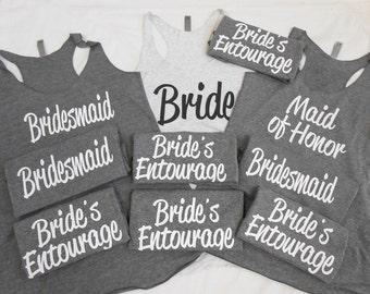 10 Bridesmaid Tank Top, 10 Bachelorette Tanks, Set of 10 brides crew, set of 10 team bride, brides entourage tanks, wedding cruise tanks