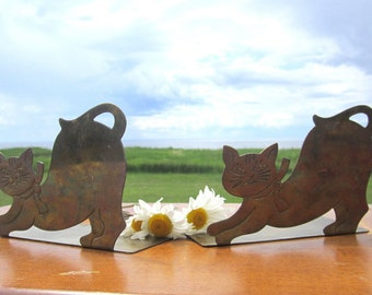 2  Brass Cat Kitten Bookends  Book Ends Metal Brass Mid Century Modern Decor cute book holders ends