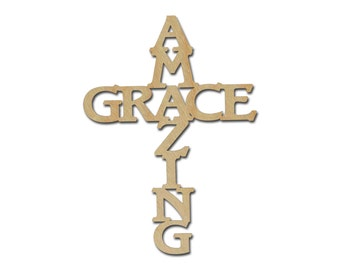 Amazing Grace Cross Unfinished Wood Christmas Cross Wooden Cut Out 7 x 11 inch