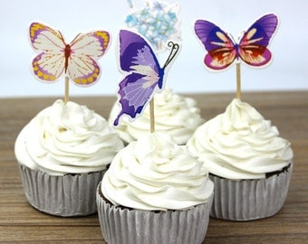 24pcs/lot Butterfly and Flower Cupcake Toppers Picks Kid Birthday Party Decorations Evnent Party Favors Wedding Decoration