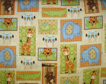 Jungle Animal Patch flannel fabric - monkey giraffe elephant crocodile turtle cheetah birds - AE Nathan - by the YARD