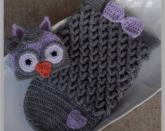 Owl Hat and Cocoon Set ... Crochet Pattern - Size: Newborn ... Instant Download