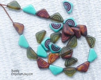 12mm Tribal Czech Glass Carved Triangle Bead Mix - 15 beads - 1851 - Mix of Carved Triangle Beads - Tribal Triangle Mix - 12mm Triangle