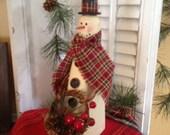 Primitive Handmade Watson the Wreath Bearing Snowman Wooden Shelf Sitter