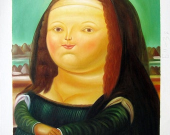 "20 by 24 inches - Reproduction - Fernando Botero - Nr.132 - ""Mona Lisa"" - Museum Quality Oil Painting on Canvas Art"
