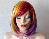 Rainbow wig. Rainbow Color wig. Long bob hairstyle wig. Heat Resistant Synthetic wig.