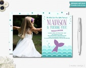Mermaid Party Invitation Photo Printable Mermaid Invitation Mermaid Photo Invite Photo Invitation Girls Birthday Under the Sea Party