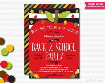 Back To School Party Invitation Back To School Soiree Invitation School Party Invite Printable Invitation School Invitation Apple Invitation