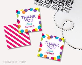 Personalized Thank You Tags Birthday Tags Bright Polka Dots Thank You Favors Birthday Favors Printable Thank You Labels Birthday Thank You