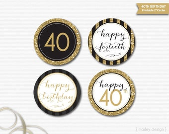 40th Birthday Toppers Black Gold Glitter 40th Birthday Decor Printable Birthday  Party Decor 40th Birthday Favor40th birthday decor   Etsy. Diy Centerpieces For 40th Birthday Party. Home Design Ideas