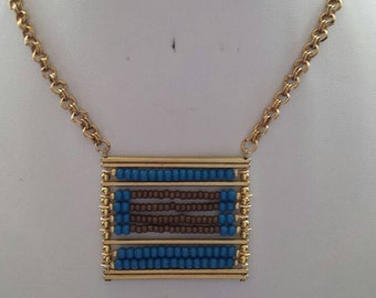 Gold Bar Blue Czech Seed Bead Bronze Seed Bead Square Pendant Gold Necklace