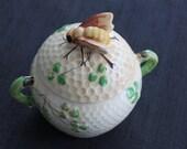 vintage ceramic honeycomb beehive condiment jar bee knob Japan