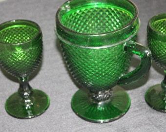 mid century dark green glass pitcher