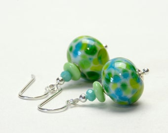 Lime and Turquoise Lampwork Glass Earrings - Blue and Green Earrings - Sterling Silver Earwires